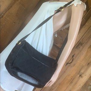 Gucci black leather canvas crossbody bag shoulder
